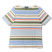 New, $37 Value! KAREN SCOTT 3X White Striped Boat Neck Rolled Cuff Knit Top