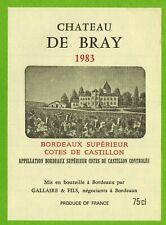 Etiquette vin de Bordeaux-Côtes de Castillon(1983)-Château de Bray-Réf.468b