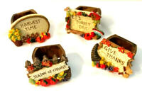 Resin Napkin Rings Set of 4 Fall Autumn Harvest Thanksgiving Holiday Pumpkins