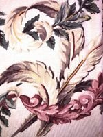 "True Vintage 40s Barkcloth Drapes Pr 78"" Nubby Pink Tropical Leaves on Cream EUC"