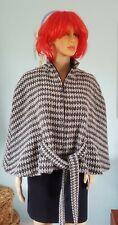 Ladies Cape coat jacket black white wool blend belted size M/L