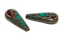 Nepalese Beads Handmade Beads Coral Turquoise beads Tribal beads Tibetan beads