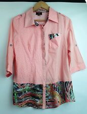 Gabriella Frattini Womens Size 10 Mixed Pattern Cotton Blend Button Front Shirt