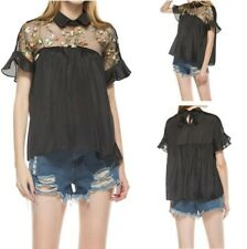 Women Ruffle Short Sleeve Floral Embroidered T Shirt Blouse Tops Inspired Sexy B