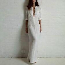 Women Long Sleeve Plain Shirt Dress Beach Cotton Slit Maxi Shirt