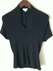 Max Mara V Neck Short Sleeve Tee Shirt Size Small Black w/ Rear Seam Detail