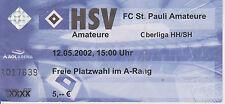 Ticket Hamburger SV 2 - FC St. Pauli  2  Oberliga Hamburg Saison 2001/02