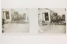 Voiture à chevaux Voyage d'une famille bourgeoise France Suisse Plaque stéréo