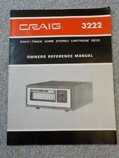 Craig 3222 Eight-Track Home Stereo Cartridge Deck Owners Reference Manual