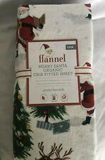 Pottery Barn Kids Merry Santa Organic Flannel Crib Sheet NWT