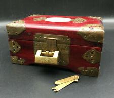 """Lovely Wood  Jewellery Trinket Box Inlaid 6.5"""" x 3"""" Brass Lock with special Key"""