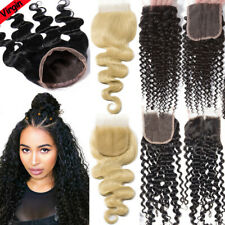 Wave Kinky Curly Piece 100% Virgin Human Hair Frontal Closure Pre Plucked 8A US