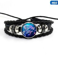 12Zodiac Signs Constellations Glass Button Woven Leather Bracelet Jewelry Pisces