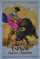 Original litho poster 1950 Spain travel tourism Bull bullfight litografia piena
