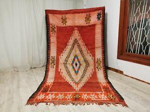 "Vintage Handmade Moroccan Rug,5'57""x 10'03"" Feet,Berber Sbaai Diamond Red Carpet"