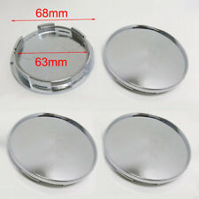 4Pcs 68mm Universal Chrome Silver Car Wheel Center Hub Caps Covers Set