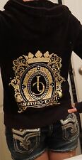 Juicy Couture Zip Up Hoodie Velour Black Gold Logo Bling Wreath M L