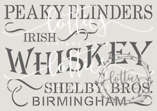 A5 STENCIL PEAKY BLINDERS  - WHISKEY Furniture Wine Crates Vintage ❤ 190 MYLAR