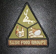 BASIC FOOD GROUPS USA ARMY MORALE BADGE SWAT HOOK PATCH