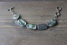 Vintage LUC Sterling Silver Abalone Link Bracelet