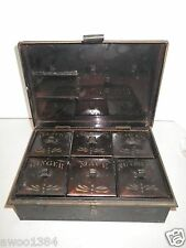 Antique Primitive Kreamer Tin Spice Box Caddy Toleware with 6 Spice Containers