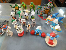 Assorted character toys, Smurfs, 101 Dalmations, Snoopy, Teenage Mutant Turtles