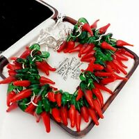 Vintage Style - Mexican Fiery Red Hot Chilli Pepper Silvertone Necklace #2
