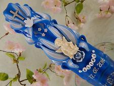 Taufkerze Kerze zur Taufe geschnitzt blau mit Engel Taufkerzen für Jungen