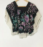Bardot 100% Silk Black Floral Relaxed Top Size 10 with Sleeves & Frills Fashion