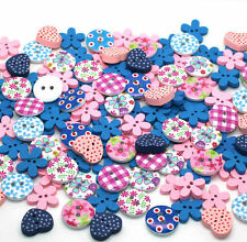 BU1142 10 Large Wooden Round Wild Flower Tan Buttons 30mm Crafts Sewing