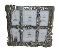 """New """"MY BABY"""" Silver FreeStanding Photo Frame (4)(2""""x3""""  (2) 3""""x3"""" Baby Pictures"""