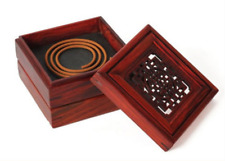 8.5cm Chinese Rosewood Carving Square Double-deck Incense Coil Burner Censer Box