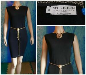 ST JOHN Collection Santana Knit Black Dress L 10 12 Sleeveless Sheath LBD