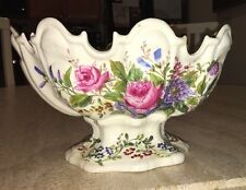 Meissen Worcester 1700's Pedestal Scalloped Edges Oval Fruit Bowl Compote Large