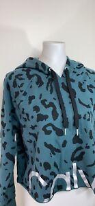 CALVIN KLEIN PERFORMANCE Women's Animal Print Fleece Cropped LOGO Hoodie NWT L