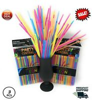 600 Plastic Straws for Parties Flexible Drinking Multi Color Straws Bendy 3Pack!