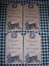 PRIMITIVE 10 HOLIDAY EASTER BUNNY RABBIT WITH WORDS HANG TAGS