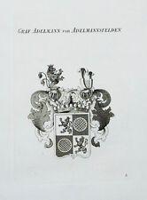 1847 Wappen Adelmann von Adelmannsfelden Kupferstich Tyroff