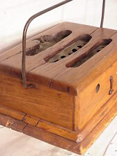Antique Dutch primitive wooden stove coal box foot feet warmer with  handle art