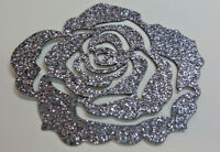 Rose couleur TITANE GRIS FONCE Patch termocollant  hotfix Glitter 7 cm