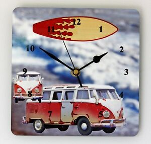 Square Wall Clock Camper Van Surfing and Camping Size 19cm by 19cm
