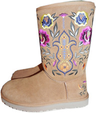 Ugg Australia Classic Medium Tall Boot Embroidery Fur Lined Bootie 6-37 Chestnut