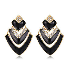 Hot Unusual African Jewelry White Rhinestone Black Drip Oil Ear Stud Earrings