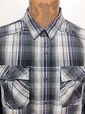 Prana Mens L Multi-Color Plaid Snap-Front Long-Sleeve Organic Cotton Shirt