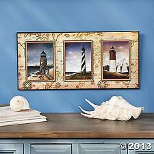 3 picture postcard lighthouse prints Wall Art Nautical Wooden Decor