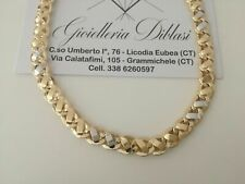 SOLID 18K YELLOW AND WHITE GOLD CHAIN NECKLACE 19,70 INCHES 8 MM MADE IN ITALY