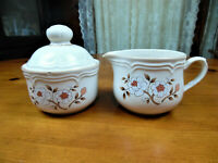 Vintage The Covington Edition Idlewild Sugar Bowl/Lid & Creamer/Stoneware Japan