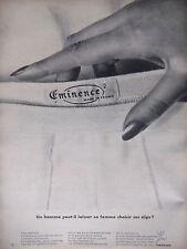 PUBLICITÉ DE PRESSE 1966 EMINENCE LES SLIPS POUR HOMMES - ADVERTISING
