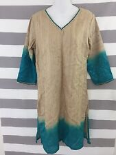 Fabrindia Tunic Dress India Silk Tan Blue Hombre Gradiant 3/4 Sleeve Sz Medium