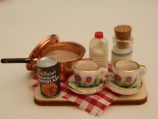 Dolls house food: Making bedtime cocoa  prep board  -By Fran